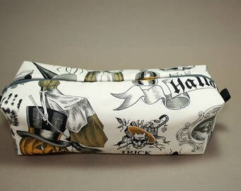 Boxy Makeup Bag - Trick or Treat of Halloweens Past Print Zipper - Pencil Pouch