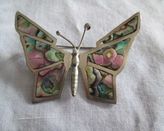 1970's Sterling Silver Butterfly brooch pin with inlaid abalone