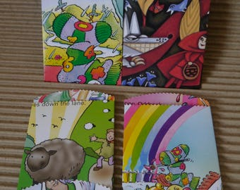 "25 x small paper bags story book upcycled 4.1/2""x 3"" favor treat merchandise bags,"