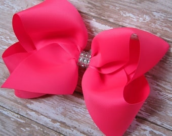 X-Large 7 inch Size Grosgrain Hair Bow in Neon Pink with Rhinestone Center Big Girls Boutique Style Hairbow