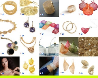 On SALE 20% - 20 Wire crochet patterns package - jewelry making tutorials - video instructions - learn crochet with wires