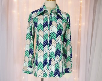 Vintage - Long Sleeve Shirt - By Trissi - Blue Green and White Chevron Design - 70s/80s - Tagged - Never Worn - New Old Stock