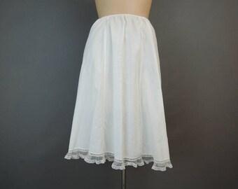 Vintage White Cotton Half Slip, 24 to 32 inch waist, 47 hips