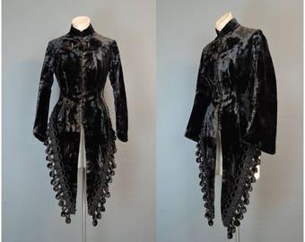 Victorian Brown Velvet Coat with Tassels, AS IS, Antique 1800s Silk Velvet, 34 bust
