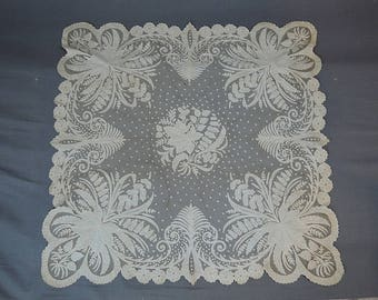 Antique Lace Piece, 29x30 Inches, Appliques U0026 Embroidered Tulle Lace, As Is  With
