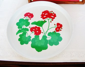 vintage geraniums metal tray