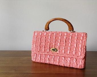 Pink Woven Handbag | 1950s-60s