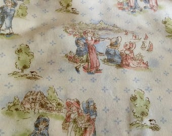 Pink Blue Beige Print Cotton Fabric, 2.25 yards by 45 inches wide