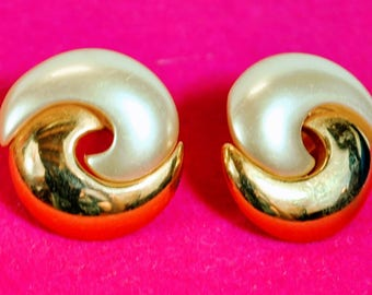 Vintage Napier Earrings - Pierced Swirl Goldtone and Faux Pearl - Gold Tone Shiny