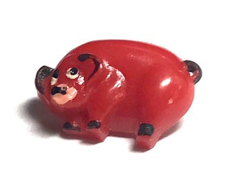 Vintage Plastic French Realistic Goofy Button - Pig - Hand Painted - Red