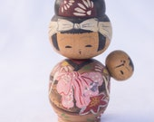 Mother and Baby Kokeshi // Vintage Japanese Wooden Doll
