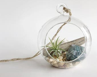 Terrarium Air Plant Fluorite Stone // Hanging Terrarium - Tillandsia - Airplant - Rocks - Natural Stones - Colors - Rainbow - Crystal - Love