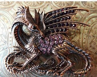 CLEARANCE SALE Winged Dragon Dracarys Amethyst Rhinestone Brooch Purple Gemstones Oxidized Copper Metal Pinback Costume Jewelry Fashion Pin