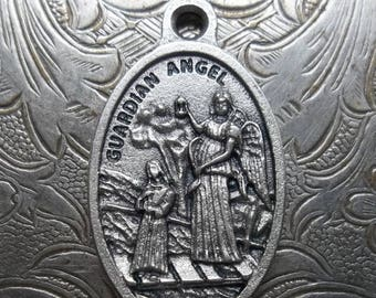 ON SALE Guardian Angel Protect Us Silver Italian Medallion Watch Over Us & Our Children Pray For Us