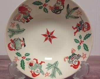 "1960's Stavangerflint Norwegian Ceramic porridge bowl, ""Nissejul"" with Elves, Vintage Scandinavian"
