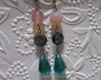 Abalone earrings,round abalone bead earrings, abalone beads, earrings