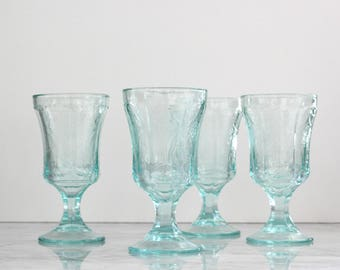 Vintage Indiana Glass Madrid Pattern Water Goblets from the Recollections Series - Set of 4