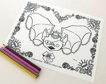 Spooky Bat Digital Download Coloring Page Pocket Full of Posiez