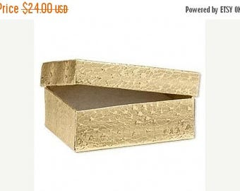 Summer Sale 100 Pack of 3.25X2.25X1 Inch Size Gold Foil Cotton Filled Jewelry Presentation Boxes