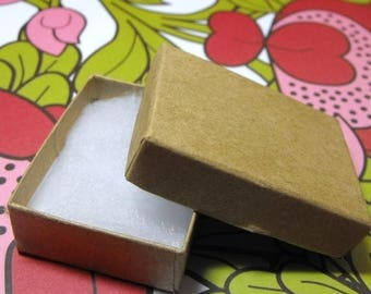 STOREWIDE SALE 100 Pack Kraft Brown Cotton Filled 11 Size Cotton Filled Boxes 1  7/8 Inch by 1  1/4 inch by 5/8 Inch Size