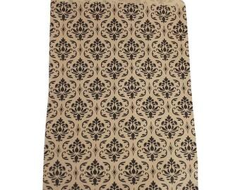 STOREWIDE SALE 100 Pack 5 X 7 Inch kraft Color Damask print Flat Paper Merchandise Bags