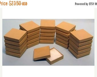New Years Sale 50 Pack Kraft 3.5 X 3.5 X 1 Inch  Size Cotton Filled Jewelry Presentation Gift Boxes