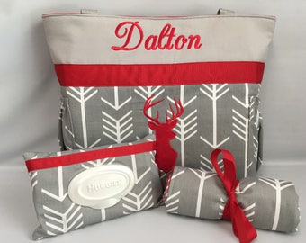 ARROWS and DEER  ...  Diaper Bag .. Changing Pad  ...  WIPE Cover Set ... Gray and Red