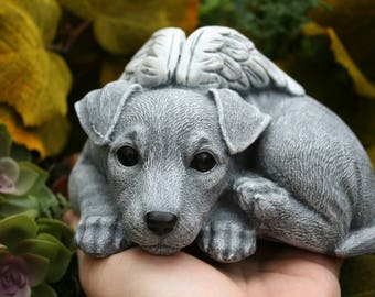 JRT Angel Dog - Jack Russell Terrier Angel Dog Statue - Rat Terrier Concrete Dog Memorial