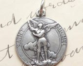 ON SALE Sterling Silver St Michael the Archangel Medal - Antique Replica