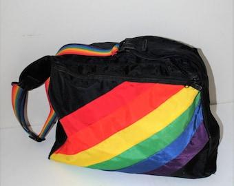 80s rainbow duffel bag 1980s vintage nylon retro gym bag