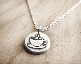 Tiny coffee cup necklace in silver, coffee jewelry, coworker gift for her