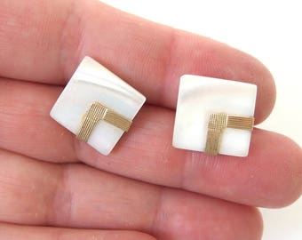 Mother of Pearl Earrings with 14K Gold, Pierced Post Square Jewelry
