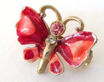 Small Butterfly Pin, Vintage Pink and Red Butterfly Brooch