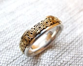 RESERVED FOR Larissa - Vintage 22k gold and sterling silver ring  wedding band Unisex size 8 Bali Boho Ethnic style