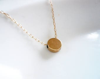 Gold Coin Bead Necklace in 14K Gold Filled - Tiny Bead Necklace, Gold Circle Necklace, Solid Brass Coin Necklace. Gold Coin Necklace.