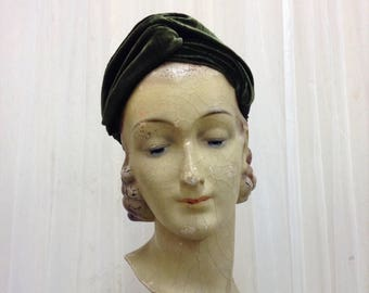 Handmade Velvet fabric 1940's Turban headband in Dark Sage Green Silk Velvet twisted headband hairband with elastic