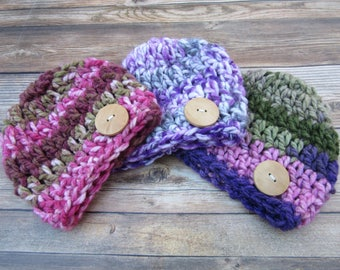Baby Girl Hat, Baby Girl Winter Hat, Newborn Girl Hat, Baby Girl Coming Home Hat, Baby Girl Beanie, Hats for Baby Girls, Wood Button Hat