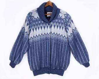 80's NORDIC wool sweater jacket // vintage dusty blue cardigan // heavy sweater jacket // made in Canada // size L XL