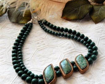 One of a Kind Artisan Crafted Sterling Silver Jade Chrysocolla & Jasper Necklace