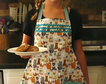 Cats Kittens Teen Girls apron aqua