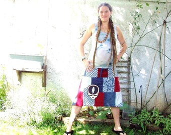 U.S. BLUES ~ GRATEFUL DEAD ~ steal your face ~  ecofriendly gypsy batiked embroidered patchwork hippie spinners skirt~ hemp syf applique