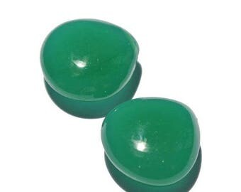 50% Off Sale 2 Pcs Green Chalcedony Smooth Polished Heart Briolette Size 15x15mm Approx