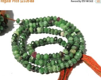 50% Off Sale 14 Inches Genuine AAA Ruby Zoisite Micro Faceted Rondelles Size 3.5 - 4mm Approx