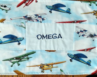 Personalized school placemat, listening mat, preschool place mat, airplane fabric, fabric placemat