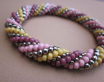 pink, berry, maize and nickel metal seed bead spiral crochet bracelet -- plus FREE bead crochet pdf tutorial