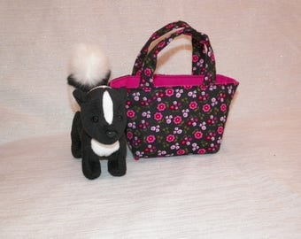 Flower Skunk Teeny Tote Bag with Skunk Plush Toy in a Rose and Black  Tote