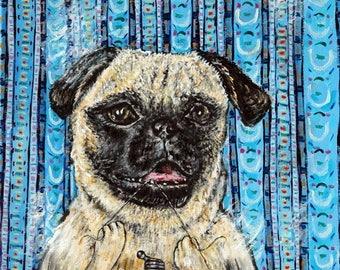 20% off PUG PRINT, 11x14 dog print , gift for dentist - pug art - modern dog art - folk art -dog print, bathroom art print