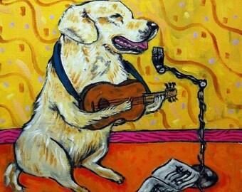 20% off guitar art with Golden Retriever dog print on art TILE coaster gift modern folk JSCHMETZ