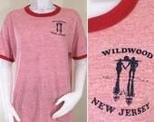 30 % de réduction vente des années 70 WildWood New Jersey rouge chiné sonnerie T Shirt, taille l à XL
