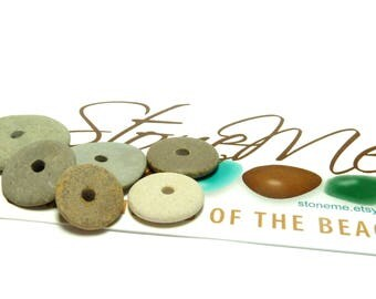 Drilled River Rocks CROP CIRCLES Beach Stones Pebble Jewelry Beads Lake Finds Pebbles Rounds Artisan Craft Supply Upcycled